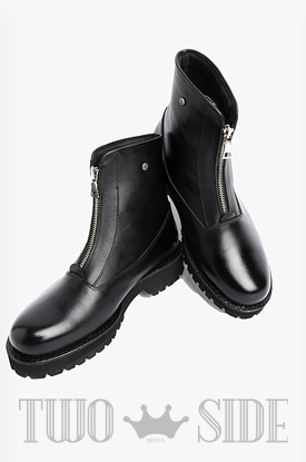 [TWOSIDE]Black Chic Zipper Boots(BLACK)