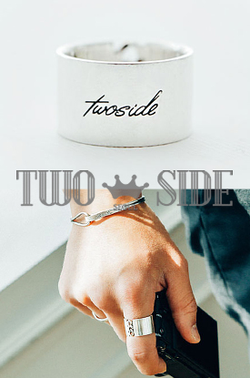[TWOSIDE]Point Chain Silver Ring