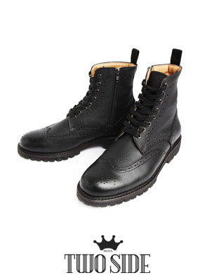 [TWOSIDE] Miller Classic Wingtip Boots(Black)