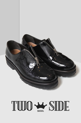 [TWOSIDE]Zipper Enamel Shoes